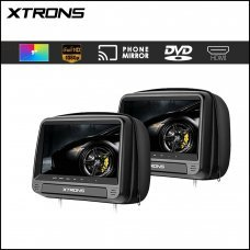 "Xtrons HD923 Black 2 x 9"" HD Digital Built in Headrest Screens With Leather Cover"