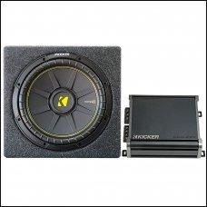 "Kicker 12"" Single Subwoofer Box With Kicker CXA400.1 Mono Amplifier"